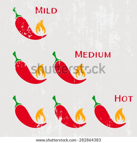 Grunge red hot chilli peppers mild medium hot - stock vector