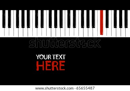 Grunge red piano key with copy space - stock vector