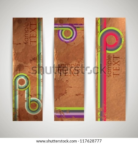 grunge retro banners with colorful ribbons - stock vector