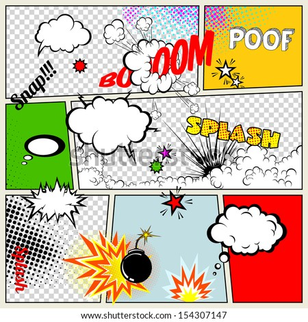 Grunge Retro Comic Speech Bubbles. Vector Illustration on Strip Background. Abstract Talking Clouds and Sounds. - stock vector
