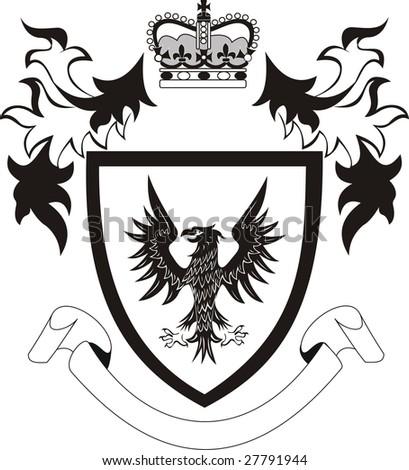 Grunge retro shield with black eagle - stock vector