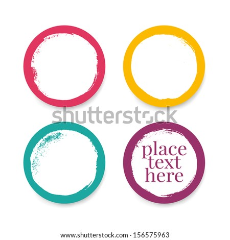 Grunge round frames in bright colors. Vector illustration - stock vector