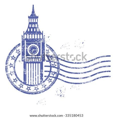 Grunge round stamp with Big Ben - landmark of London - stock vector