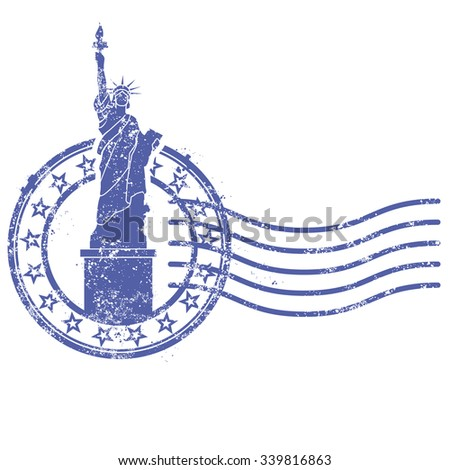 Grunge round stamp with Statue of Liberty - landmark of New York and USA - stock vector