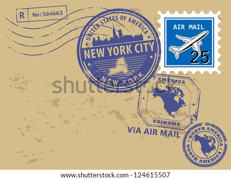 Grunge rubber post stamps set with name of New York, New York City, vector illustration - stock vector