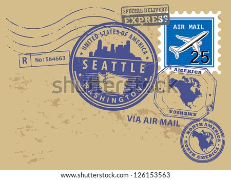 Grunge rubber post stamps set with name of Washington, Seattle, vector illustration - stock vector