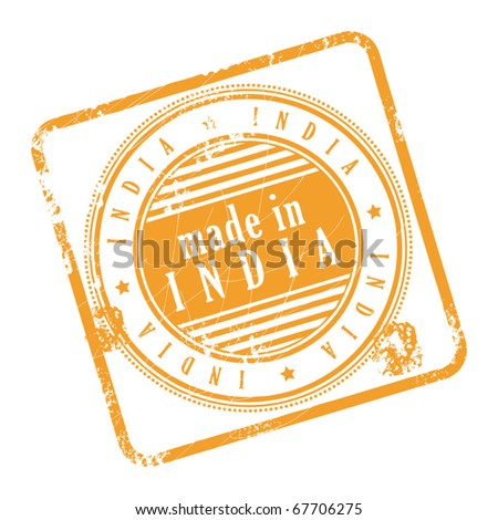Grunge rubber stamp made in India, vector illustration - stock vector