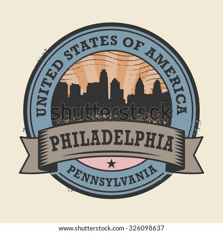 Grunge rubber stamp or label with name of Pennsylvania, Philadelphia, vector illustration - stock vector