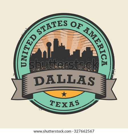 Grunge rubber stamp or label with name of Texas, Dallas, vector illustration - stock vector