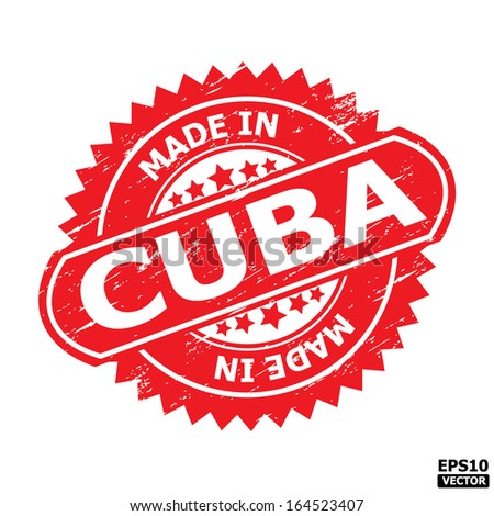 "Grunge rubber stamp or (stickers,tag, icon, sign, symbol, badge, label) with text "" MADE IN CUBA "" present by light blue color for business, office, internet or e-commerce. eps10 vector - stock vector"
