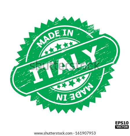 """Grunge rubber stamp or (stickers,tag, icon, sign, symbol, badge, label) with text """" MADE IN ITALY """" present by light blue color for business, office, internet or e-commerce. eps10 vector - stock vector"""