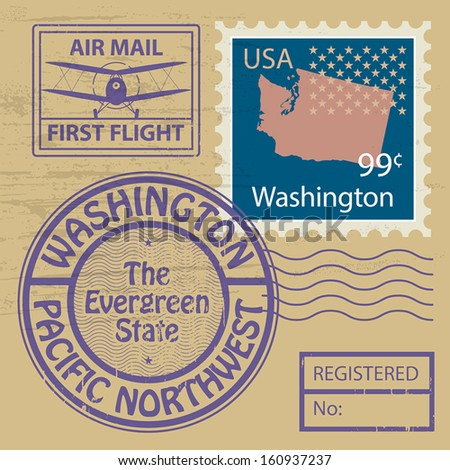 Grunge rubber stamp set with name of Washington, vector illustration - stock vector