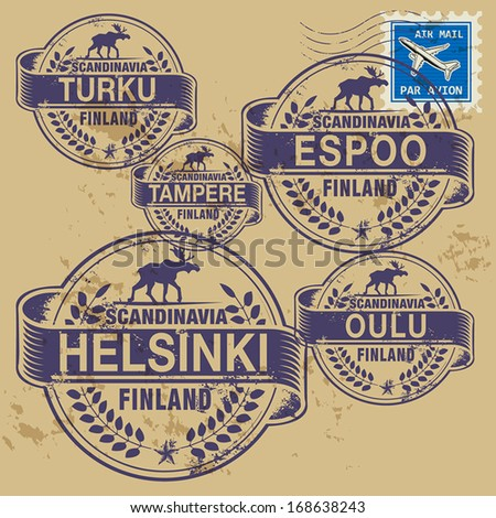 Grunge rubber stamp set with names of Finland cities, vector illustration - stock vector