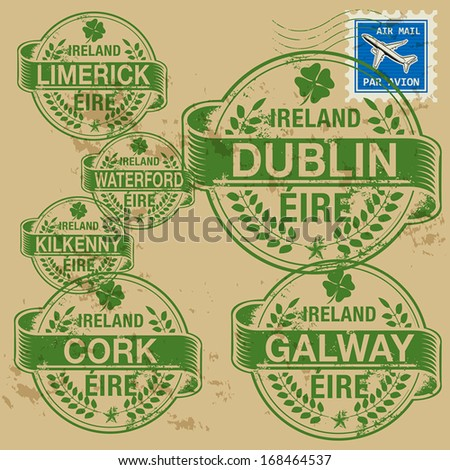 Grunge rubber stamp set with names of Ireland cities, vector illustration - stock vector