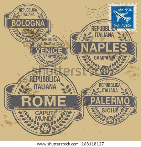 Grunge rubber stamp set with names of Italian cities, vector illustration - stock vector