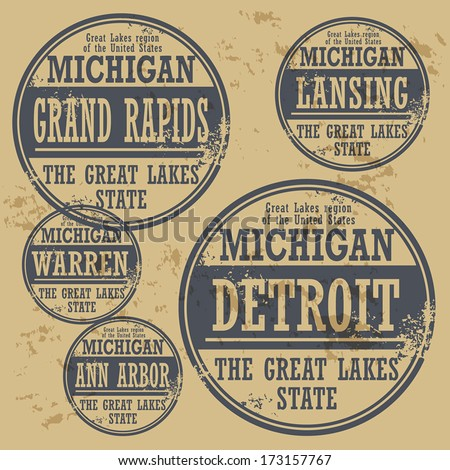 Grunge rubber stamp set with names of Michigan cities, vector illustration - stock vector