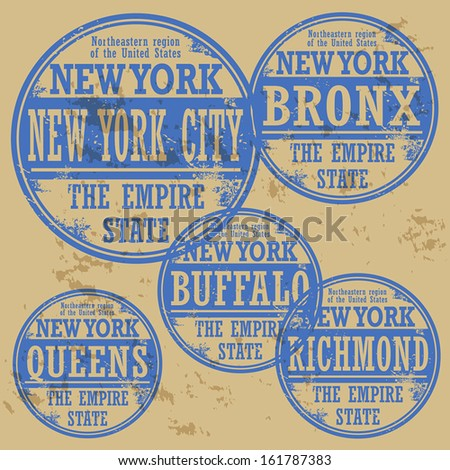 Grunge rubber stamp set with names of New York cities, vector illustration - stock vector