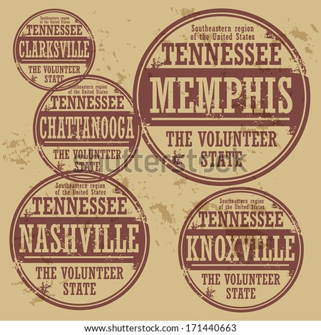 Grunge rubber stamp set with names of Tennessee cities, vector illustration - stock vector