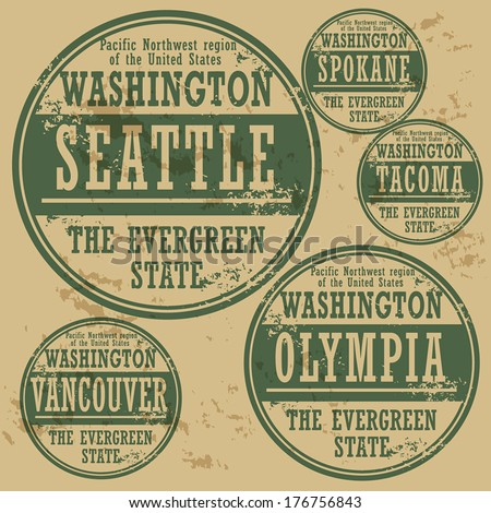 Grunge rubber stamp set with names of Washington cities, vector illustration - stock vector