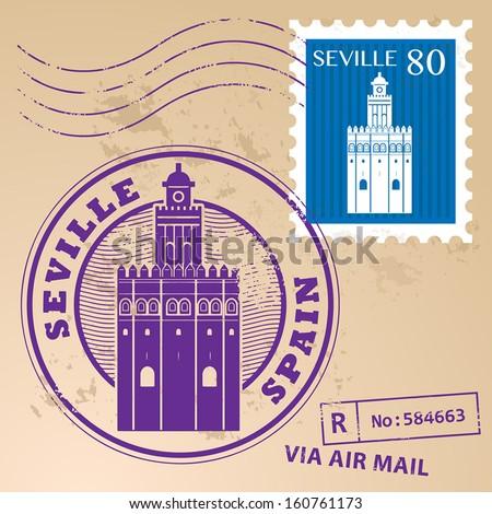 Grunge rubber stamp set with words Seville, Spain inside, vector illustration - stock vector