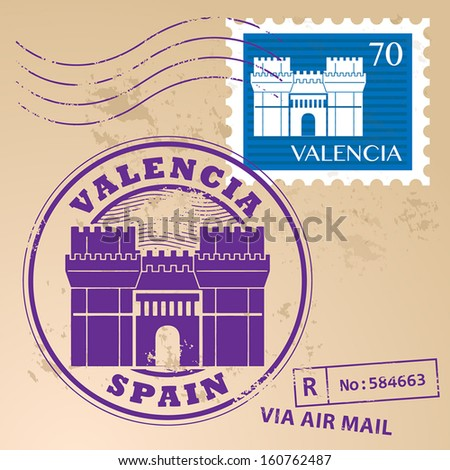 Grunge rubber stamp set with words Valencia, Spain inside, vector illustration - stock vector