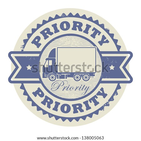 Grunge rubber stamp with a delivery car and the text Priority written inside the stamp, vector illustration - stock vector