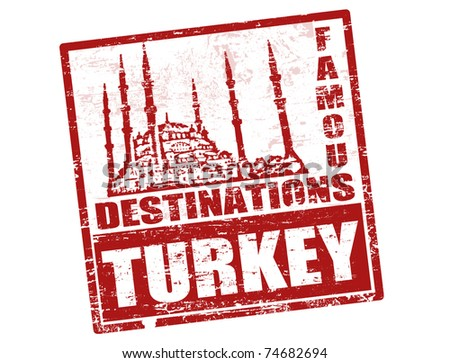 Grunge rubber stamp with blue mosque shape and the word Turkey inside, vector illustration - stock vector