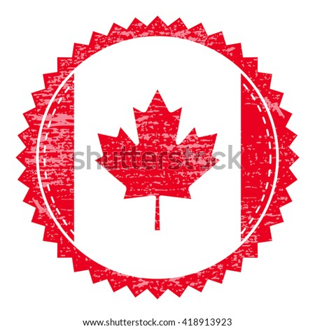Grunge  rubber stamp with Canada flag. Vintage travel stamp - stock vector