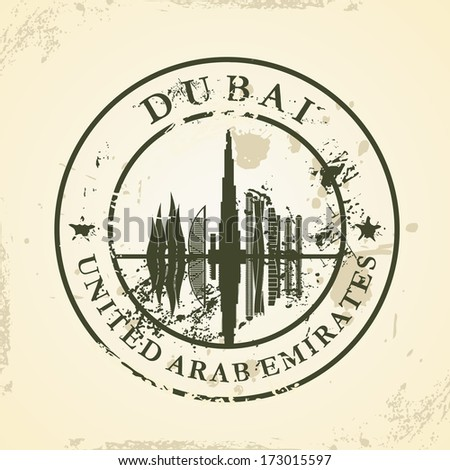 Grunge rubber stamp with Dubai, UAE - vector illustration - stock vector