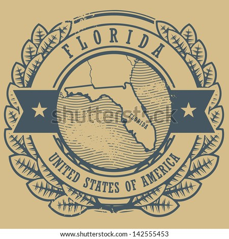 Grunge rubber stamp with name and map of Florida, USA, vector illustration - stock vector