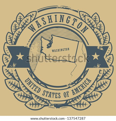 Grunge rubber stamp with name and map of Washington, USA, vector illustration - stock vector
