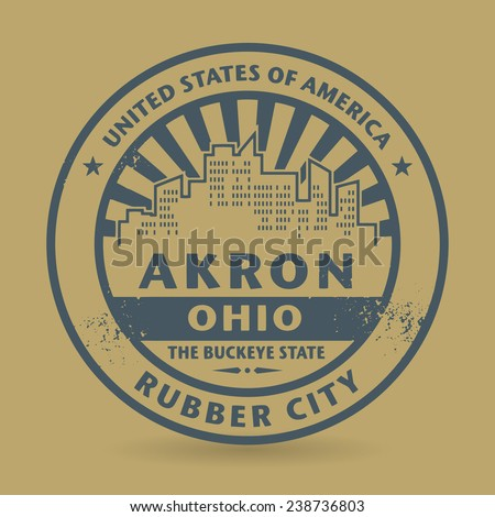 Grunge rubber stamp with name of Akron, Ohio, vector illustration - stock vector