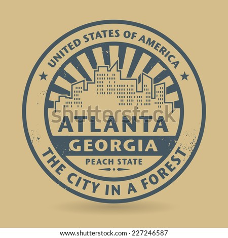 Grunge rubber stamp with name of Atlanta, Georgia, vector illustration - stock vector