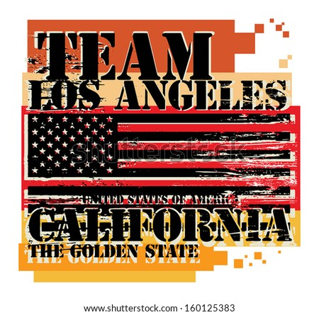 Grunge rubber stamp with name of California, Los Angeles, vector illustration - stock vector