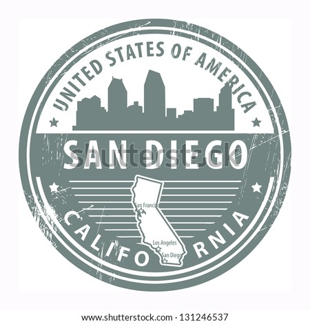 Grunge rubber stamp with name of California, San Diego, vector illustration - stock vector