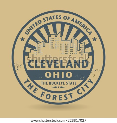 Grunge rubber stamp with name of Cleveland, Ohio, vector illustration - stock vector
