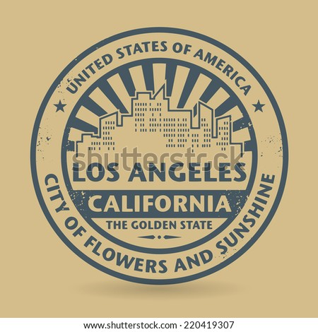 Grunge rubber stamp with name of Los Angeles, California, vector illustration - stock vector
