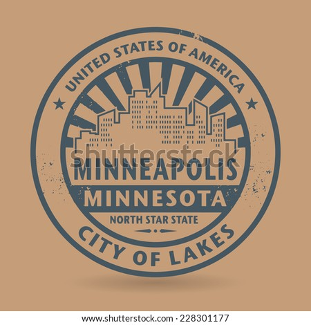 Grunge rubber stamp with name of Minneapolis, Minnesota, vector illustration - stock vector