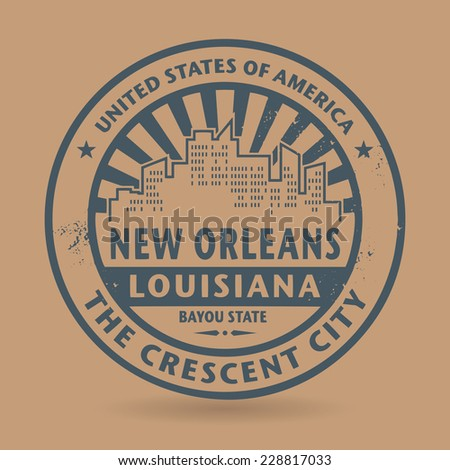 Grunge rubber stamp with name of New Orleans, Louisiana, vector illustration - stock vector
