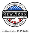 Grunge rubber stamp with name of New York, vector illustration - stock vector