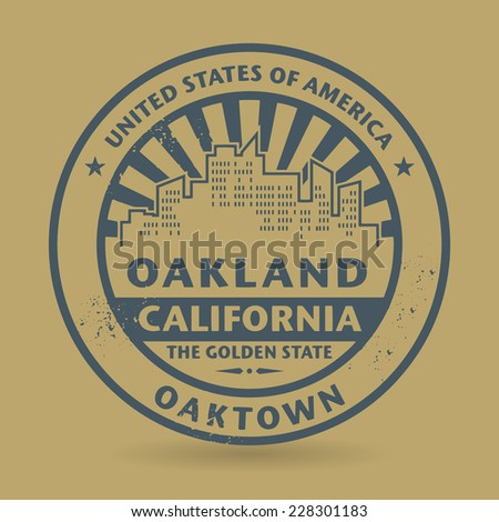 Grunge rubber stamp with name of Oakland, California, vector illustration - stock vector