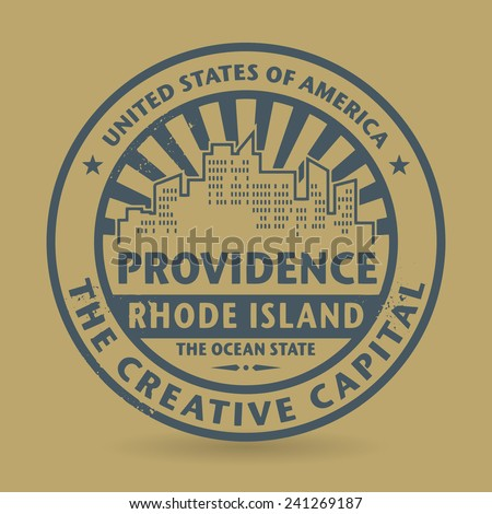 Grunge rubber stamp with name of Providence, Rhode Island, vector illustration - stock vector