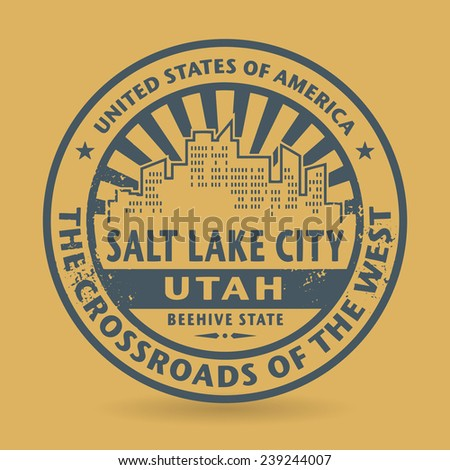 Grunge rubber stamp with name of Salt Lake City, Utah, vector illustration - stock vector