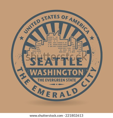 Grunge rubber stamp with name of Washington, Seattle, vector illustration - stock vector