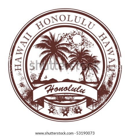 Grunge rubber stamp with palms and the word Honolulu, Havaii inside, vector illustration - stock vector
