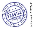 Grunge rubber stamp with small stars and the word Fragile inside, vector illustration - stock vector