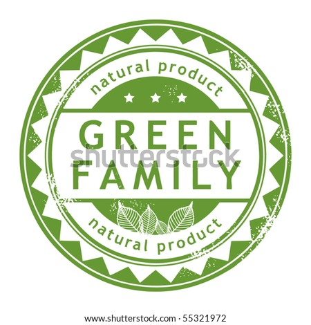 Grunge rubber stamp with small stars and the word Green Family inside, vector illustration - stock vector