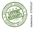 Grunge rubber stamp with small stars and the word Lifetime warranty inside, vector illustration - stock vector