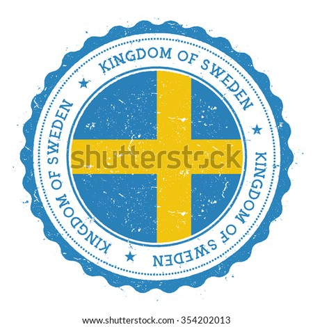Grunge rubber stamp with Sweden flag. Vintage travel stamp with circular text, stars and country flag inside it, vector illustration - stock vector