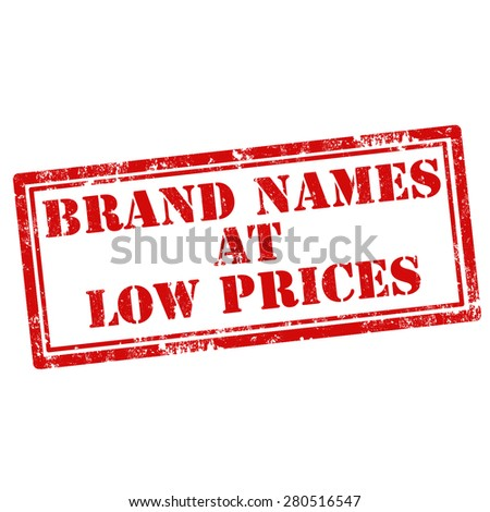 Grunge rubber stamp with text Brand Names At Low Prices,vector illustration - stock vector